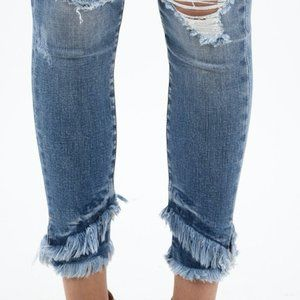 Kancan Ankle Frayed Jeans
